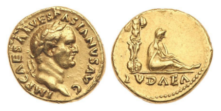 Judaea Capta Aureus 69/70 CE. Images courtesy Goldberg Auctions