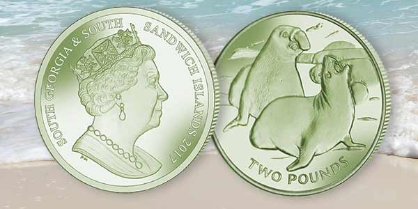 Sterling SILVER Proof Coin South Georgia//Sandwich Islands 2017 ELEPHANT SEAL