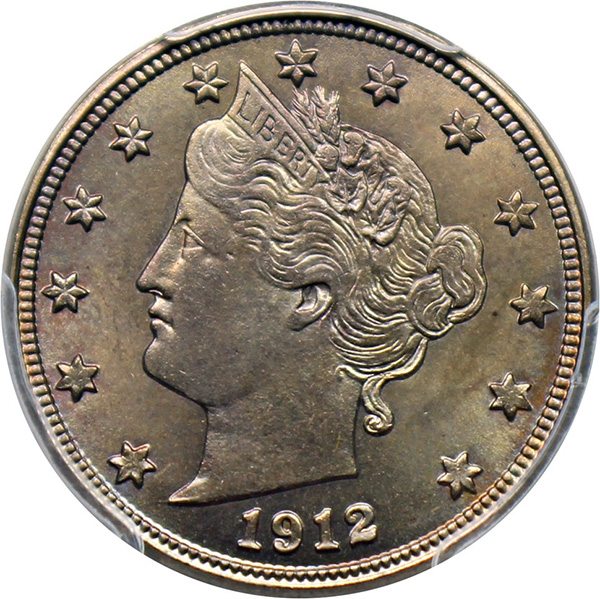Obverse, United States 1912-D Liberty nickel, image courtesy David Lawrence Rare Coins