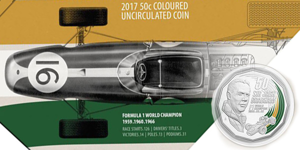 New World Coins - Motor Racing Legend Sir Jack Brabham Overtakes