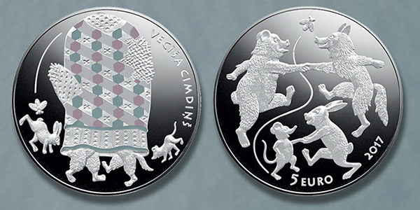 Latvia 2017 Fairy Tale Coin III: The Old Man's Mitten. Images courtesy Bank of Latvia
