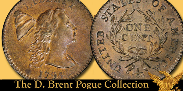 1794 S-18b Large Cent, Head of 1793. Images courtesy Stack's Bowers