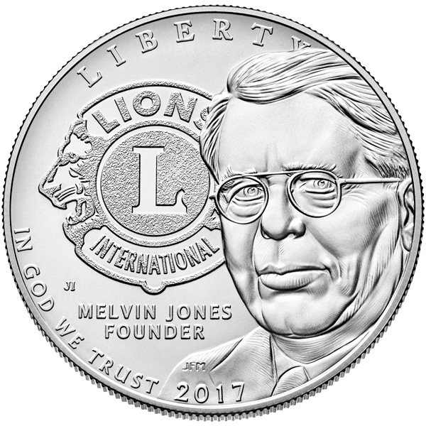 Obverse, United States 2017 Lions Clubs International Centennial Silver Dollar Coin. Image courtesy U.S. Mint
