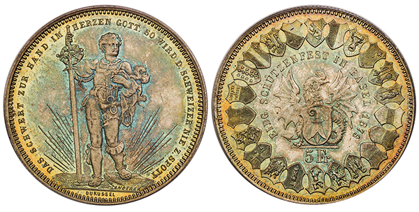 SWITZERLAND. Basel. 1879 AR 5 Francs Shooting Thaler. Images courtesy Atlas Numismatics