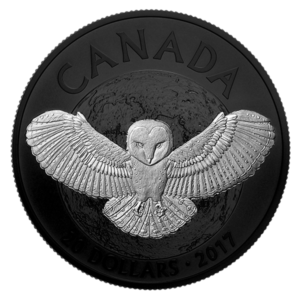 Reverse, Canada 2017 Nocturnal by Nature: Barn Owl $20 Silver Coin with Black Rhodium Plating. Image courtesy Royal Canadian Mint