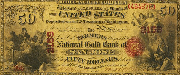 San Jose, California $50 National Gold Bank Note. Image courtesy Heritage Auctions