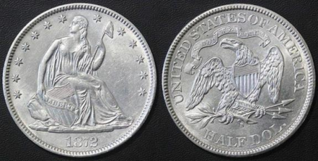 Suspect 1872-S Half Dollar - August 2016 Internet example. Images courtesy Jack D. Young, EAC Counterfeit Coins