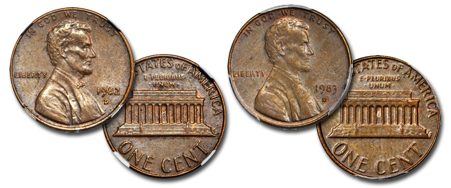 1982-D, 1983-D bronze Lincoln cents at August 2017 ANA Auction. Images courtesy Stack's Bowers