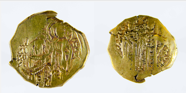 Gold hyperpyron, John V, 1341-47. Images courtesy Princeton University