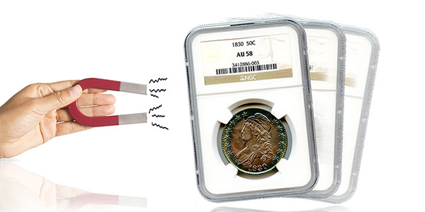 Coin Collecting Hand holding magnet, NGC AU58 Capped Bust Half Dollar