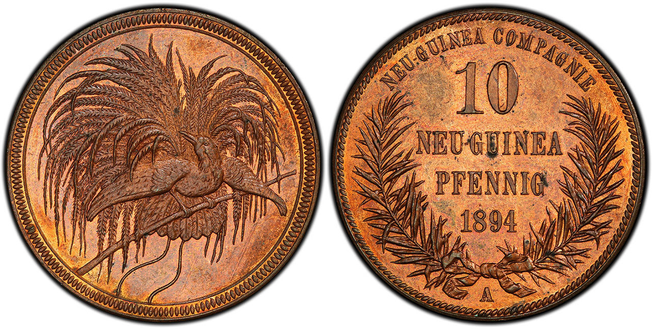 GERMAN NEW GUINEA. 1894-A CU 10 Pfennig. Images courtesy Atlas Numismatics