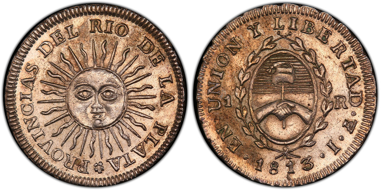 ARGENTINA. 1813-PTS J AR Real. Images courtesy Atlas Numismatics