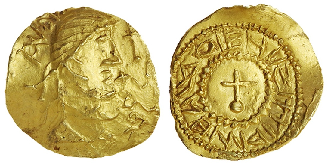 Anglo-Saxon gold Thrymsa of King Eadbald. Images courtesy Spink Auctions