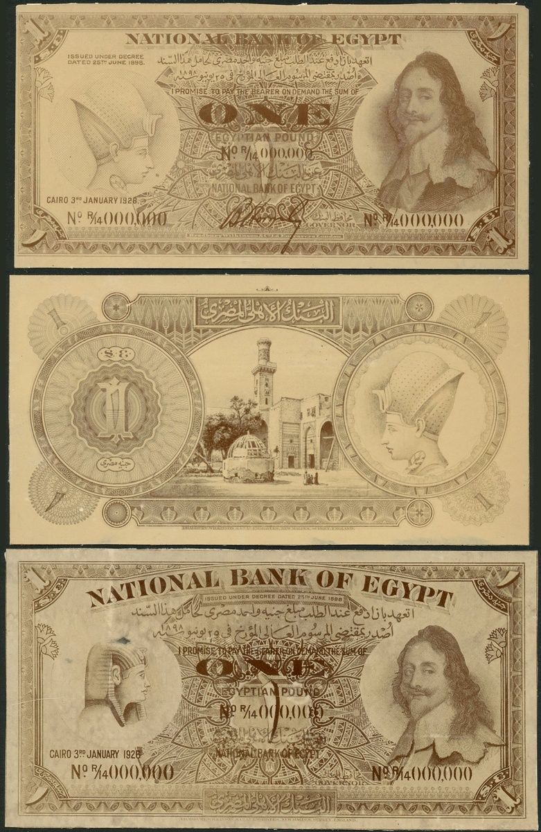 National Bank of Egypt, obverse (2) and reverse archival photos showing designs for £1, 3 January 1926. Image courtesy Spink Auctions
