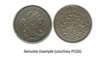 "Attribution page for 1797 ""S-136"" counterfeit Large Cent. Images courtesy Jack D. Young"