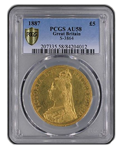 PCGS 1887 Great Britain 5 Pound Gold Coin