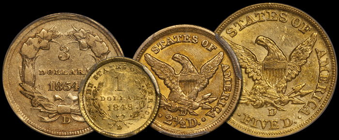 Denominations of Dahlonega gold coins. Images courtesy Doug Winter