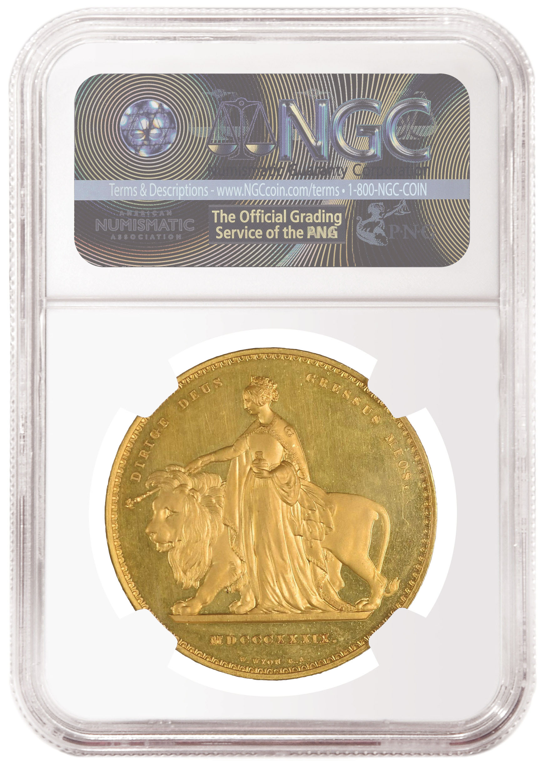 Great Britain, Queen Victoria Una and the Lion 5 Pound Gold. Image courtesy NGC