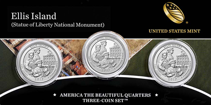 United States Mint - Ellis Island Statue of Liberty National Monument 3-Coin Set
