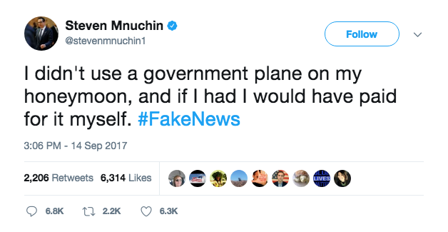 Sept. 14 tweet from Treasury Secretary Steven Mnuchin RE: use of gov't plane on his honeymoon