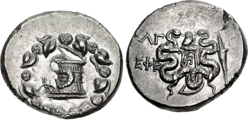 Cistophorus of the city of Ephesus dated year 33 (101/100 BCE). Images courtesy CNG, NGC