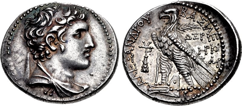 Tetradrachm of the Seleucid King Alexander Balas dated to Seleucid Era year 164 (149/8 BCE). Images courtesy CNG, NGC
