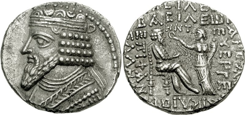 Tetradrachm of the Parthian King Gotarzes II dated to Seleucid Era year 358 (47/8 CE). Images courtesy CNG, NGC