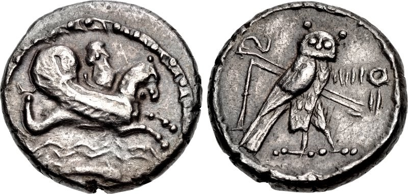 Didrachm of the city of Tyre dated to year 7 of the reign of its ruler Azemilkos. Images courtesy CNG, NGC