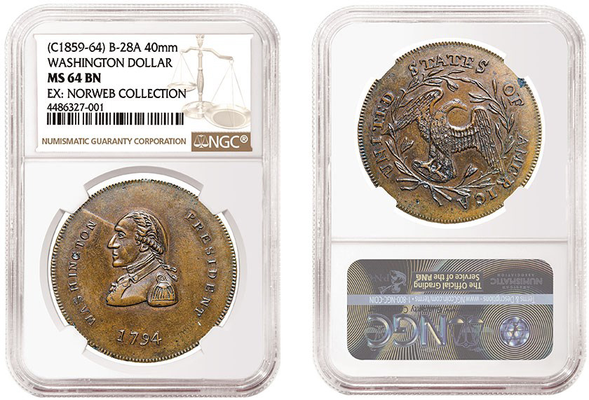 Copper specimen of Washington Dollar Fantasy, graded by NGC