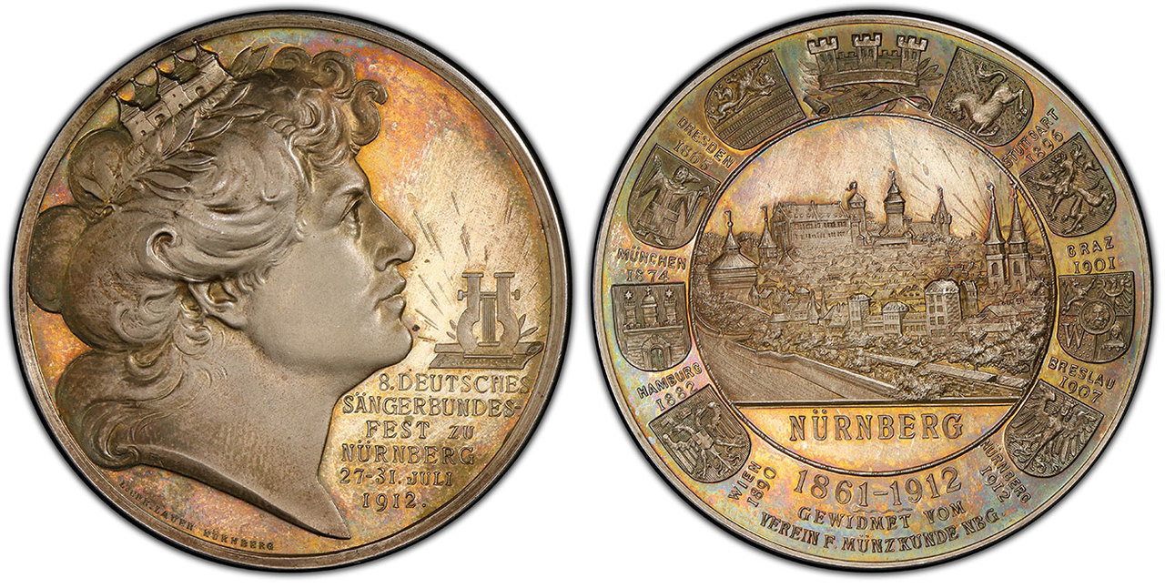 GERMANY - EMPIRE. Nurnberg. Singing Festival Nuremberg. 1912 AR Medal. Images courtesy Atlas Numismatics