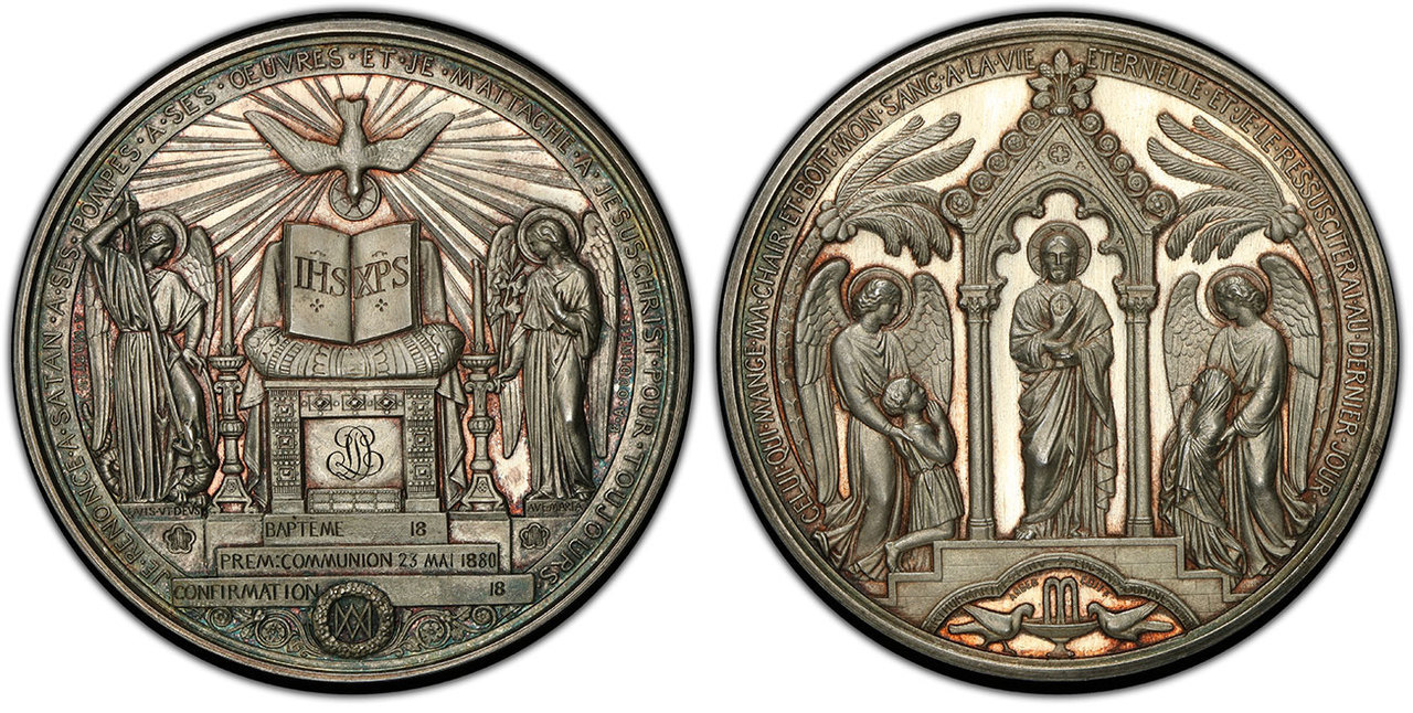 FRANCE. (1880) AR Baptism, Communion and Confirmation Medal. Images courtesy Atlas Numismatics