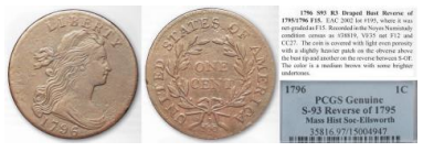 Source coin for 1796 S-93 Large Cent counterfeits. Images courtesy Jack D. Young