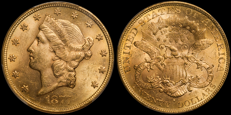 1877-S $20.00 PCGS MS62 CAC. Images courtesy Doug Winter