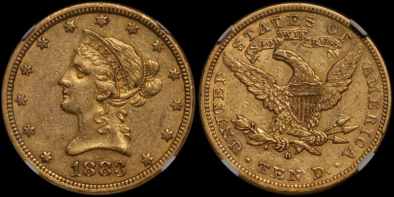 1883-O $10.00 NGC AU53. Images courtesy Doug Winter