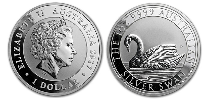 2017 Australia 1 Ounce 9999 Silver Swan One Dollar