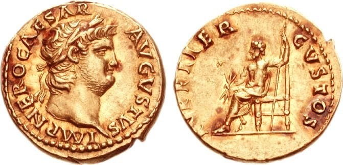 A gold aureus with Jupiter on its reverse. Images courtesy of CNG and Nomos