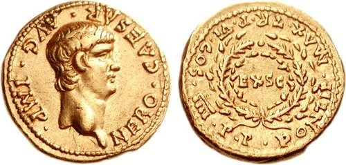 A gold aureus with a youthful portrait of Nero. Images courtesy CNG,Nomos