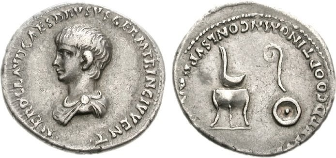 A silver denarius as Caesar with a childlike portrait. Images courtesy CNG, Nomos