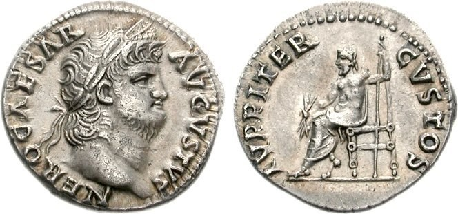 Silver denarius of Nero. Images courtesy CNG, Nomos