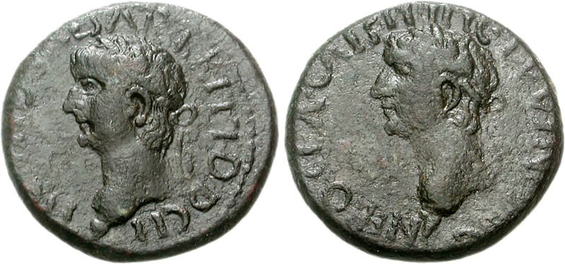 Ancient Roman coin featuring Nero and Britannicus. Images courtesy CNG, Nomos