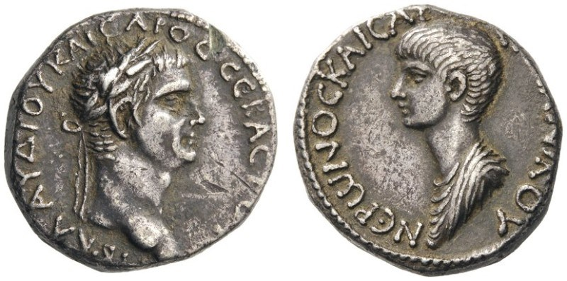 Silver tetradrachm featuring Claudius and Nero. Images courtesy CNG, Nomos