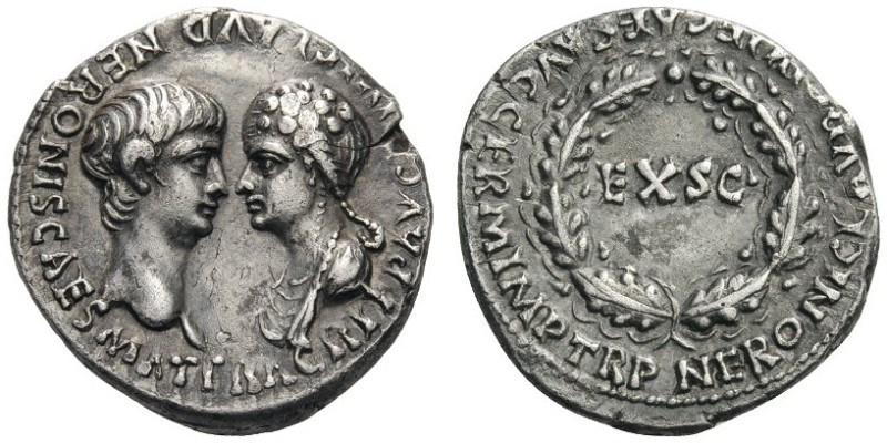Ancient Roman coin featuring Nero and Agrippina the Younger. Images courtesy CNG, Nomos