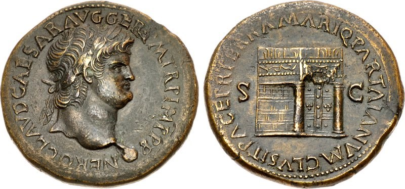 A brass sestertius with a mature portrait of Nero. Images courtesy CNG, Nomos