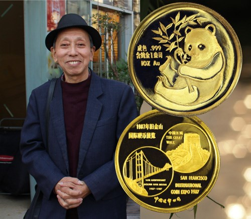 Chen Jian with one of his designs, the gold 1987 San Francisco Show Panda. Image courtesy NGC