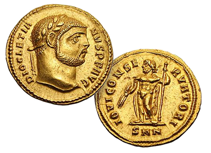 Diocletian (284-305 CE) Gold Aureus. Heroic Nudity on Ancient Coins