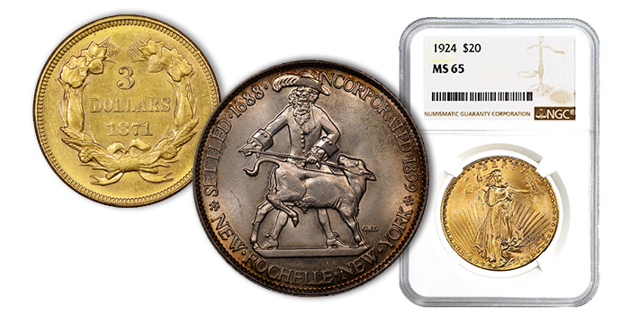 $3 Gold Princess, New Rochelle Half Dollar, 1924 Saint Gaudens $20 NGC MS65 Coins