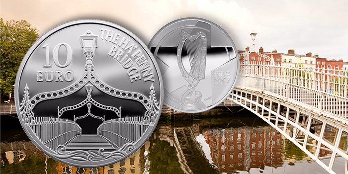 The Ha'Penny Bridge 10 Euro Eurostar Silver Coin Ireland