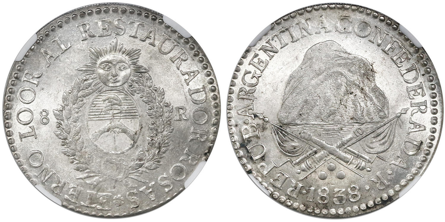La Rioja, Argentina, 8 reales, 1838R, coin rotation, encapsulated NGC MS 63+. Images courtesy Daniel Frank Sedwick, LLC