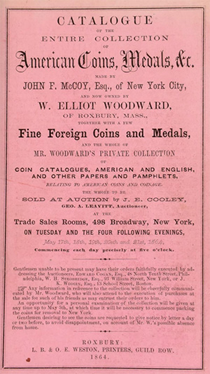 Woodward Catalog of John F. McCoy Coin Collection