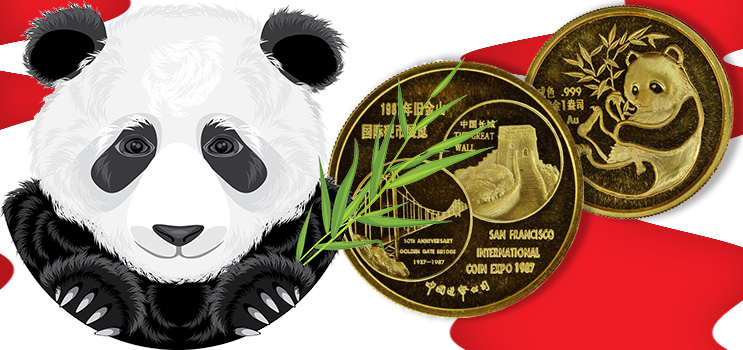 San Francisco 1987 Show Panda in Gold - Chinese Coins